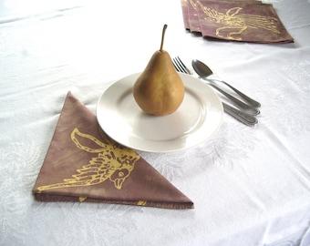 batik cloth napkins. earth purple and yellow swallows. made to order