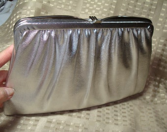 1988 Heavy Silver Handbag Clutch Purse.