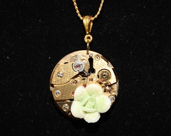 Steampunk Necklace  Gold Watch with Porcelain Flower  SP 18-27