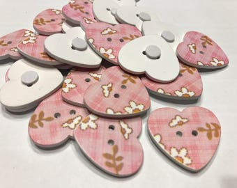 6 wood heart button stick on, 1 inch (B2)
