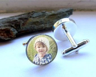 Custom Photo Cufflinks, Mens Cufflinks, Personalized Keepsake For Dad