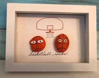"Pebble Art Painted Rocks ""Basketball Rocks"" Framed Shadow Box"