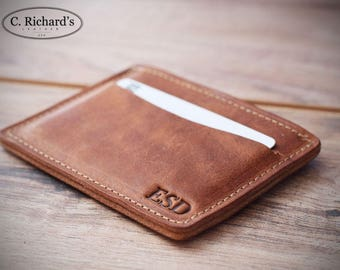 Minimalist leather wallet, minimalist wallet, front pocket wallet, slim wallet, credit card holder, personalized wallet, No. 1
