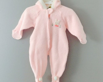 Vintage Baby Pastel Pink Snow Suit Winter Outfit / Infant Girls Size 3-6 Months One Piece Onesie
