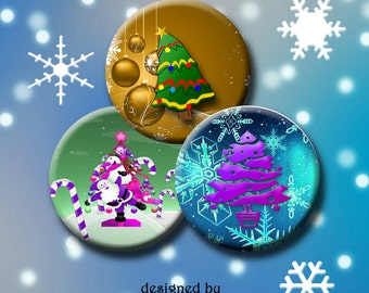 """CHRISTMAS TREES  Digital Collage Sheet 1.313 inch round images for 1"""" buttons.  Instant Download #179."""