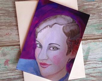 Vanessa - the PostCard Print, Original Art Print, Happy Mail, Snail Mail