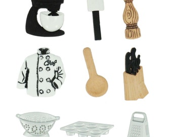 The Master Chef Button Collection Assorted Jesse James Buttons Dress It Up Buttons Set of 9 Shank Back - 213