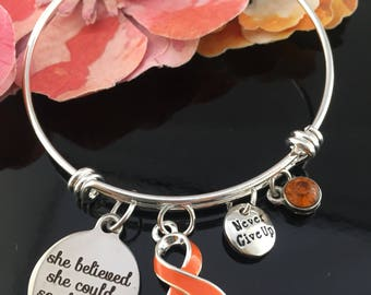 Leukemia, Leukaemia, Kidney Cancer Survivor, Multiple Sclerosis Awareness, Chronic Illness Charm Bracelet - Orange Ribbon - She Believed She