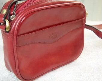 Vintage Red Leather Cross Body Bag