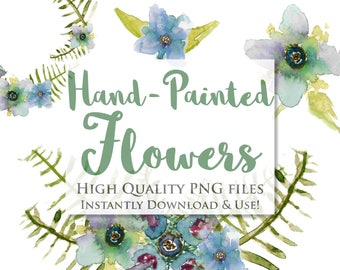 Wild Green Watercolor Floral Set - Instant Download