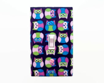 Owls Light Switch Cover - Woodland Nursery Decor - Pink Purple Switch Plate