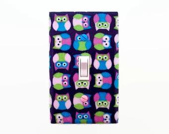 Owls Light Switch Cover - Owl Nursery Decor - Pink Purple Nursery Decor - Girls Bedroom Switch Plate - Girls Woodland Nursery Decor