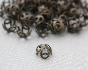 100 pc 8mm Antique Bronze Filigree Bead Caps