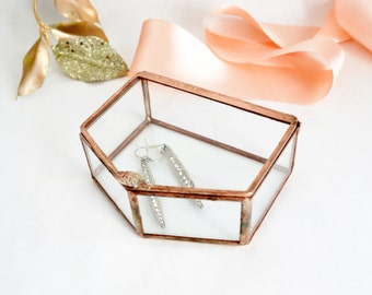 Jewelry Box, Wedding Ring Box, Clear Glass Ring Bearer, Engagement Ring Box, Glass Box With a Hinged Lid