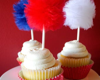 Patriotic Tulle Poms- Red, White and Blue- 6 piece set- Tulle pom pom- Tulle poms- Tulle pompom