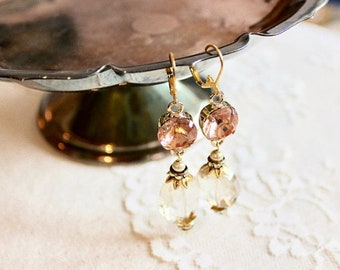 30% OFF SALE Gorgeous vintage inspired sparkling rose gold and champagne glass bead dangle earrings, Emily