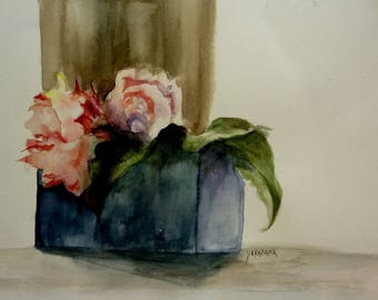watercolor flowers ds old pot