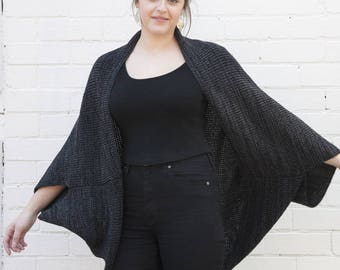 Oversized Wool Shrug - Charcoal Marl
