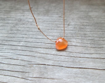 small ORANGE CARNELIAN floating stone necklace on a thin silk cord with fine silver nugget minimalist dainty dainty gemstone hand knotted