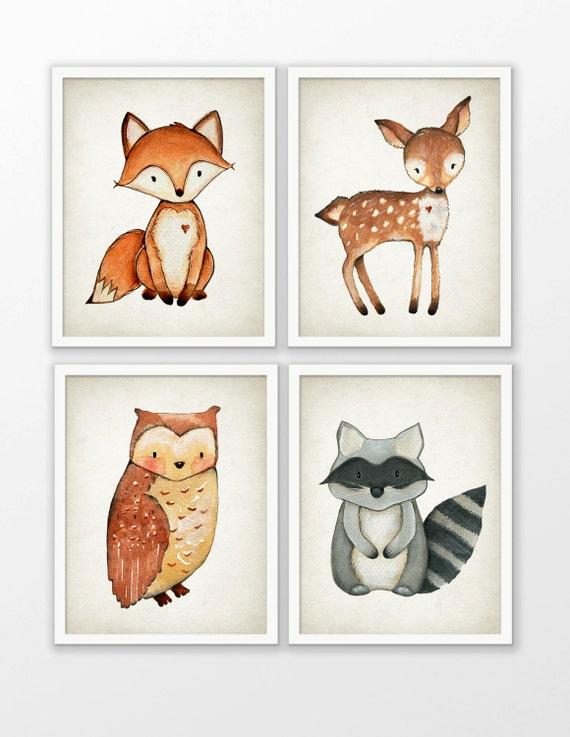 Woodland Aquarell Tiere Kinderzimmer Prints-Set 4 Fox Hirsch