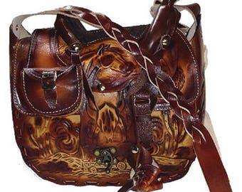 Tooled Leather Saddle Purse