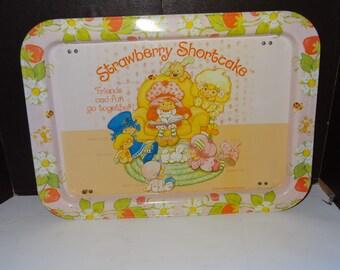 VINTAGE STRAWBERRY SHORTCAKE snack tray metal