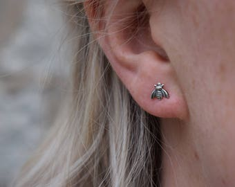 Save the Bee // Sterling Silver Stud Earrings