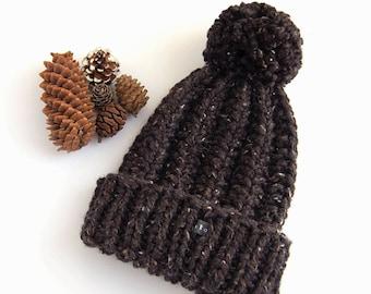 Mens Black Bobble Hat. Thick chunky hand knitted beanie. Mans winter hat. HoBo Handmade textured tweed wool blend. Outdoor Men gift. Pom Pom