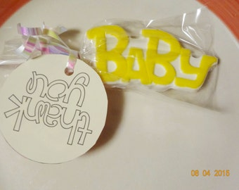 12 White Yellow Pink Blue Chocolate Lollipops Baby shower lollipops party Chocolate Favors Baby Girl or Boy Lollipops
