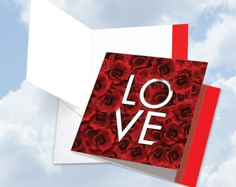 JQ5662DVDG New Jumbo Square-Top Valentine's Day Card: Blooming Love With The Word LOVE Artistically Intertwined