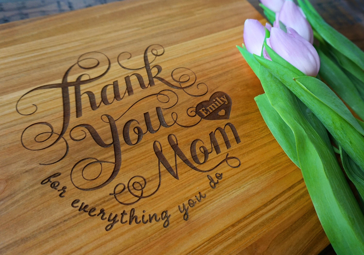 Personalized Mothers Day Cutting Board Thank You Mom
