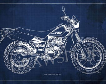 2018 Yamaha TW200 Blueprint, Art Print 14x9.60 in and LARGER SIZES, Motorcycle Art print,Gift for men,Man cave decoration,motorcycle art