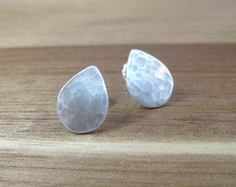Recycled Silver Post Earrings Eco Friendly Jewelry Sterling Silver Post Teardrop Earrings Minimalist Earrings Everyday Earrings - Droplet