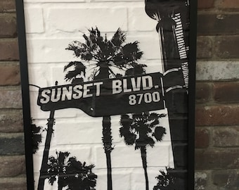 25 inch Sunset Blvd Wall Art