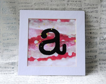 """Eclectic Style Home Decor, Encaustic Painting, Baby Girl Pink, Lowercase Letter """"a"""" Art Prints"""