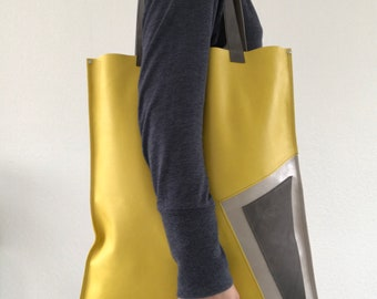 Yellow silver and grey leather tote bag