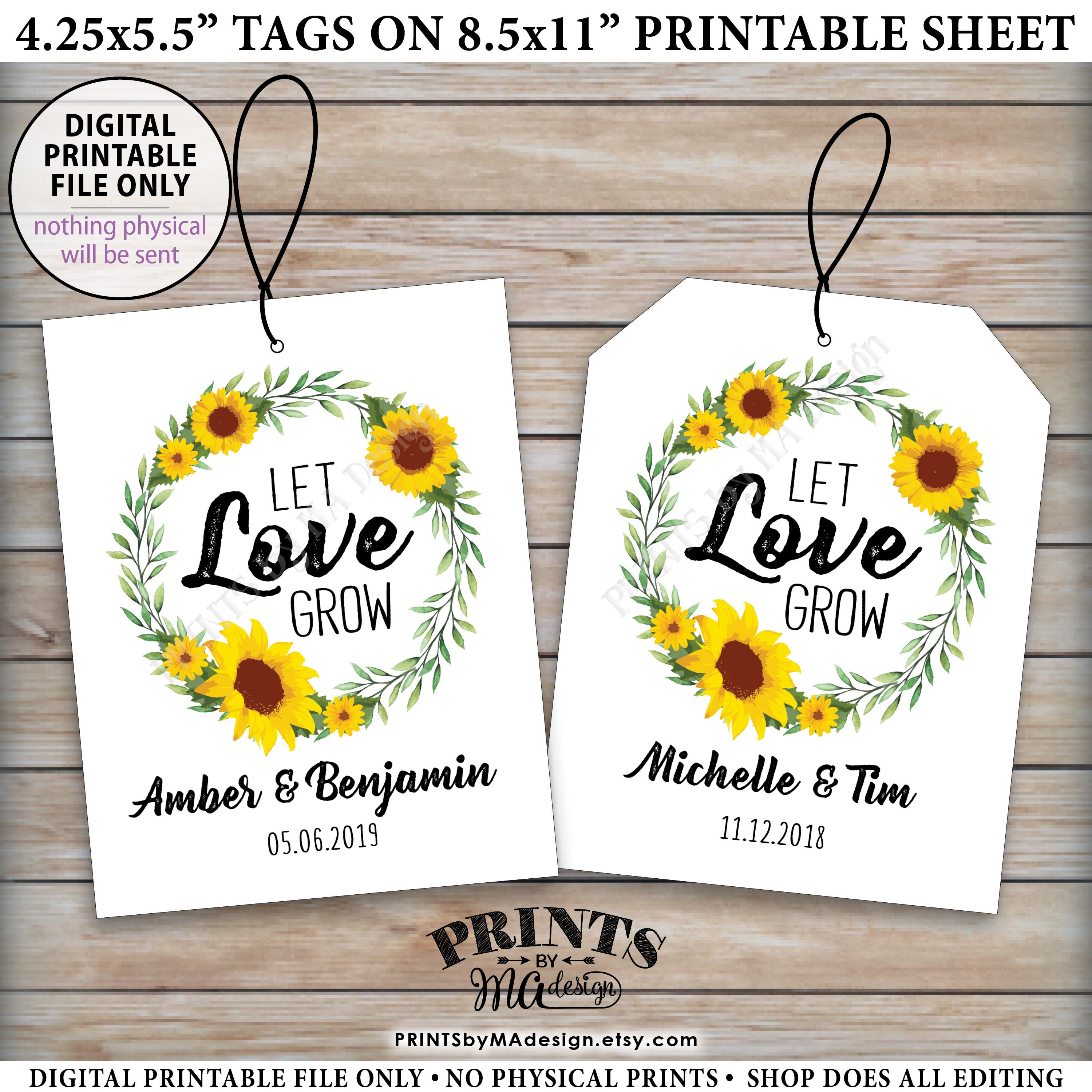 Let Love Grow Tags, Sunflower Wedding Greenery Tags, Flower Seeds ...