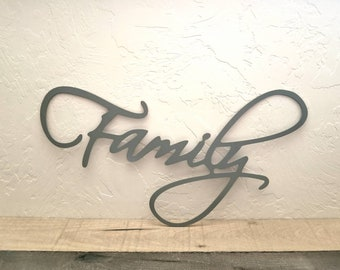 Family Sign Metal Word Art/Words for the Wall/Metal Wall Art/Metal Wall Words/Gallery Wall Decor/Metal Word Signs/Living Room Decor
