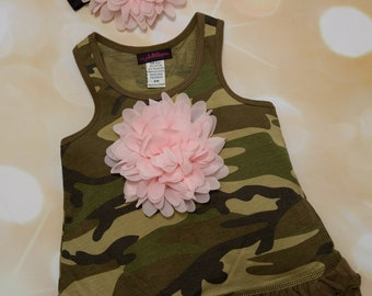 Camo Sleeveless Girls  Summer Dress Ruffle Camo Girls Dress with Large Chiffon Flower and matching Headband