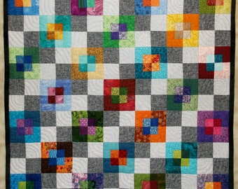 Modern Wall Quilt, Textile Art Quilt, Quilted Wall Hanging, Multi color, Gray, Illusion of Transparent Colored Squares on Grey Checkerboard