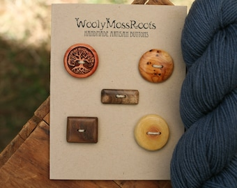 SALE! 5 Mixed Wood Buttons- Mixed Woods- Wooden Buttons- Eco Craft Supplies, Eco Knitting Supplies, Eco Sewing Supplies