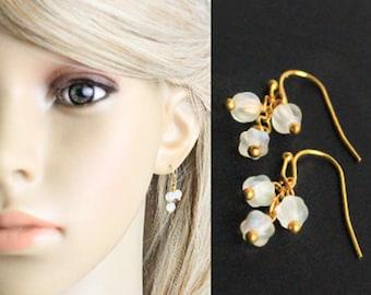 14k gold earrings white jewelry moonstone ruby red gold white frosted daughter gift cluster earrings glass earrings dainty mocha brown K11