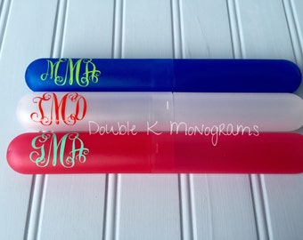 Monogrammed Toothbrush Holder / Personalized toiletries / travel gear