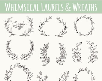 CLIP ART: Whimsical Laurels & Wreaths // Photoshop Brushes // Hand Drawn Vector // Flowers Blossoms Foliage Berry Berries // Commercial Use