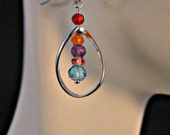 Multi gemstone hoop earrings,gemstone earrings,gemstone drop earrings,gemstone dangle earrings,birthstone earrings,topaz earrings,amethyst