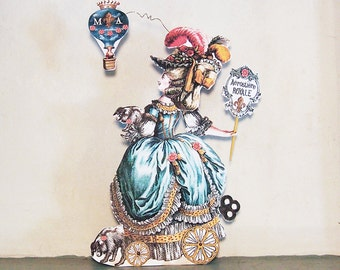 Marie Antoinette Articulated Paper Doll Party Decoration OR 3D Greeting Card - French Hot Air Balloon And Dogs - INSTANT Download -  MA10M