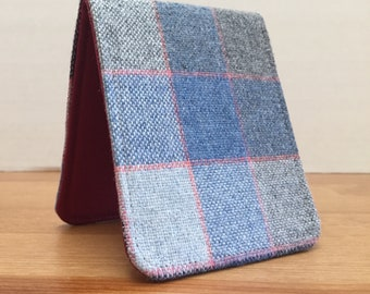Minimalist Wallet  / Slim Bifold Wallet / Blue Grey Plaid Wool