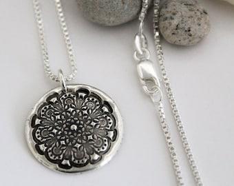 Rustic Silver Mandala Necklace