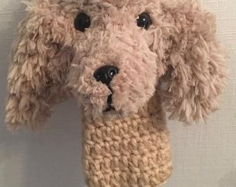 Spaniel dog hand crochet golf club cover. Great gift.