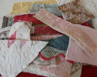 25 PRIMITIVE Tattered Old Vintage Cutter QUILT Block Pieces Sew Crafts Create Art Collage Textile  Smalls Inspiration Bundle